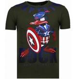 Local Fanatic Captain Duck Rhinestone - T Shirt Herr - 6007G - Grön