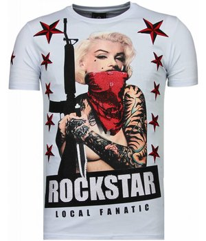Local Fanatic Marilyn Rockstar - Rhinestone T-shirt - Wit
