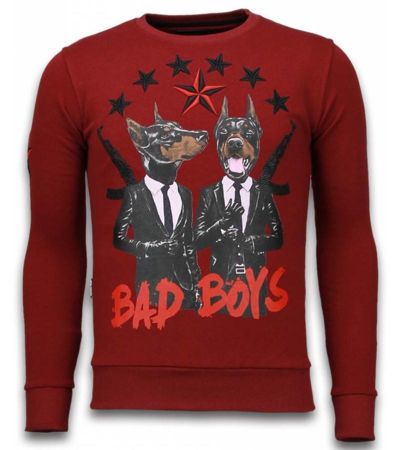 Local Fanatic Bad Boys Dogs Rhinestone - Herr Tröjor  - 5918B - Bordeaux