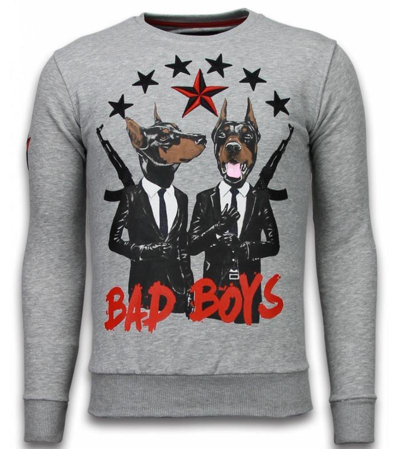 Local Fanatic Bad Boys Dogs Rhinestone - Tröjor Herr - 5918G - Grå