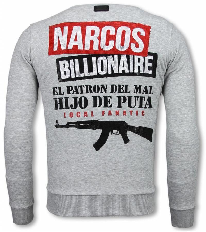 Local Fanatic Narcos Billionaire - Rhinestone Sweater - Grijs