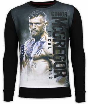 Local Fanatic Conor McGregor - Digital Rhinestone Sweater - Zwart