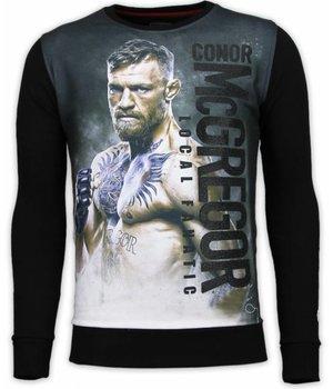 Local Fanatic Conor McGregor - Digital Rhinestone Sweater - Zwart