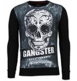 Local Fanatic Gangster Skull Rhinestone Sweater - Tröjor herr - 13-6242 - Svart