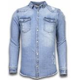 Enos Ljus jeansskjorta herr - Mörk jeansskjorta - J-982B - Blå