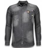 Bread & Buttons Mörk jeanss kjorta herr - Skjortor till män - 5340-5AG - Grå