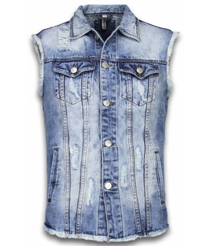 Bruno Leoni Denim Gilet Sleeveless Herr - Damaged Look Jacka - CA-503#B - Blå