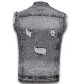 Bruno Leoni Herr Denim Gilet Sleeveless - Damaged Look Jacka - CA-515#G - Blå