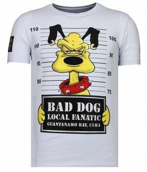 Local Fanatic Bad Dog - Rhinestone T-shirt - Wit