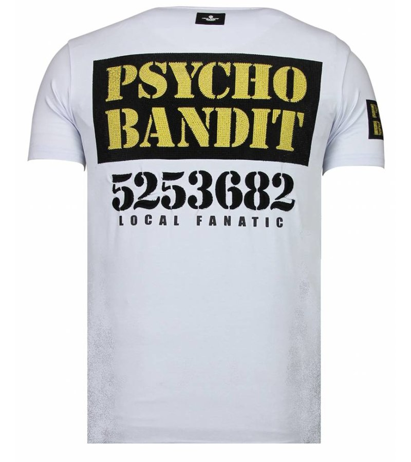 Local Fanatic Bad Dog Rhinestone -Man T Shirt - 13-6207W - Vit