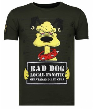 Local Fanatic Bad Dog Rhinestone - T shirt Herr - 13-6207K - Khaki