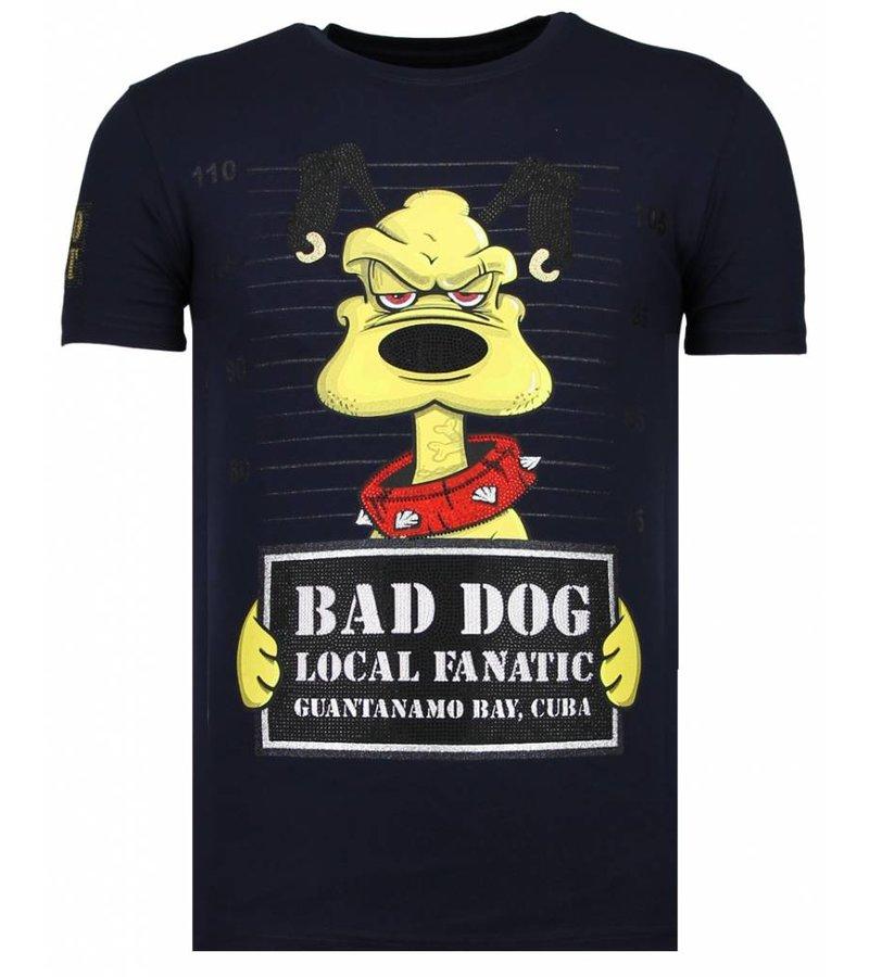 Local Fanatic Bad Dog Rhinestone - Herr T Shirt - 13-6207N - Marinblå