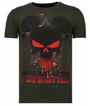 Local Fanatic Punisher Mickey - Rhinestone T-shirt - Khaki