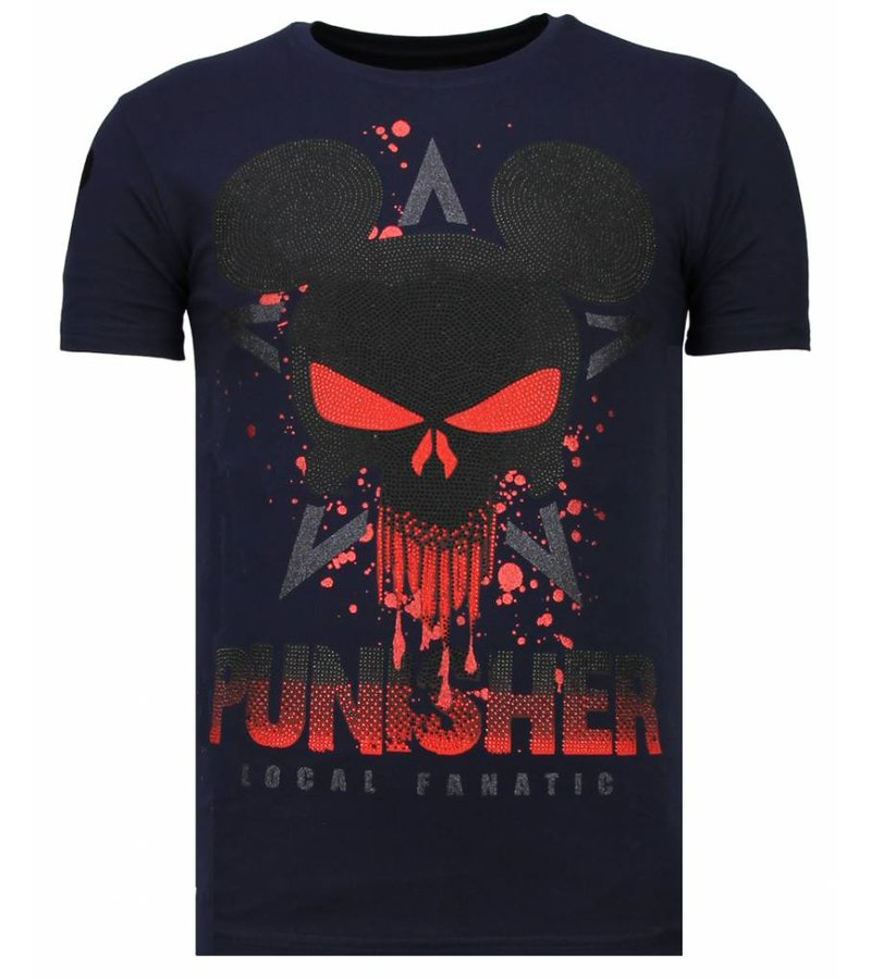 Local Fanatic Punisher Mickey Rhinestone - Herr T shirt - 13-6208N - Marinblå