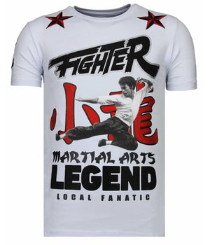 Local Fanatic Fighter Legend Rhinestone - Man T shirt  - 13-6211W - Vit