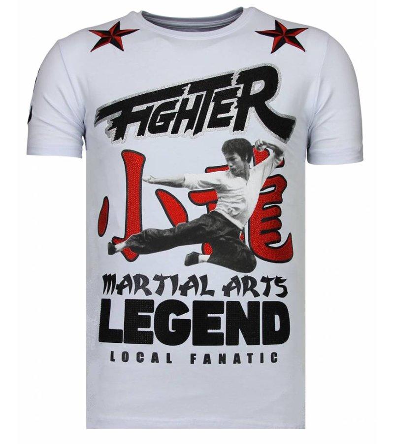 Local Fanatic Fighter Legend Rhinestone - Man T shirt  - 13-6211W - Vit