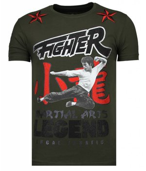 Local Fanatic Fighter Legend Rhinestone - T Shirt Herr  - 13-6211K - Khaki