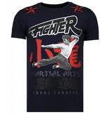 Local Fanatic Fighter Legend Rhinestone - Herr T shirt - 13-6211N - Marinblå