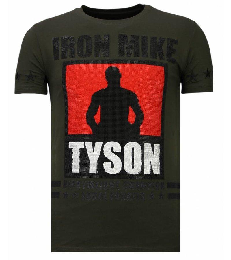 Local Fanatic Iron Mike Tyson Rhinestone - T shirt Herr - 13-6212K - Khaki