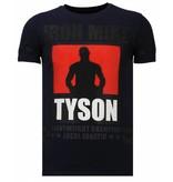 Local Fanatic Iron  Mike Tyson Rhinestone - Herr T shirt - Marinblå