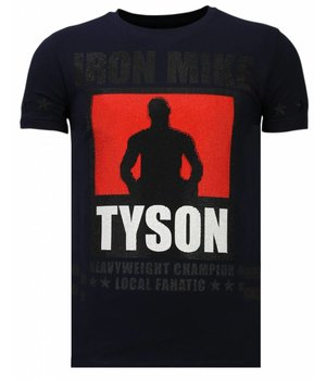 Local Fanatic Iron  Mike Tyson Rhinestone - Herr T shirt - Marinblå