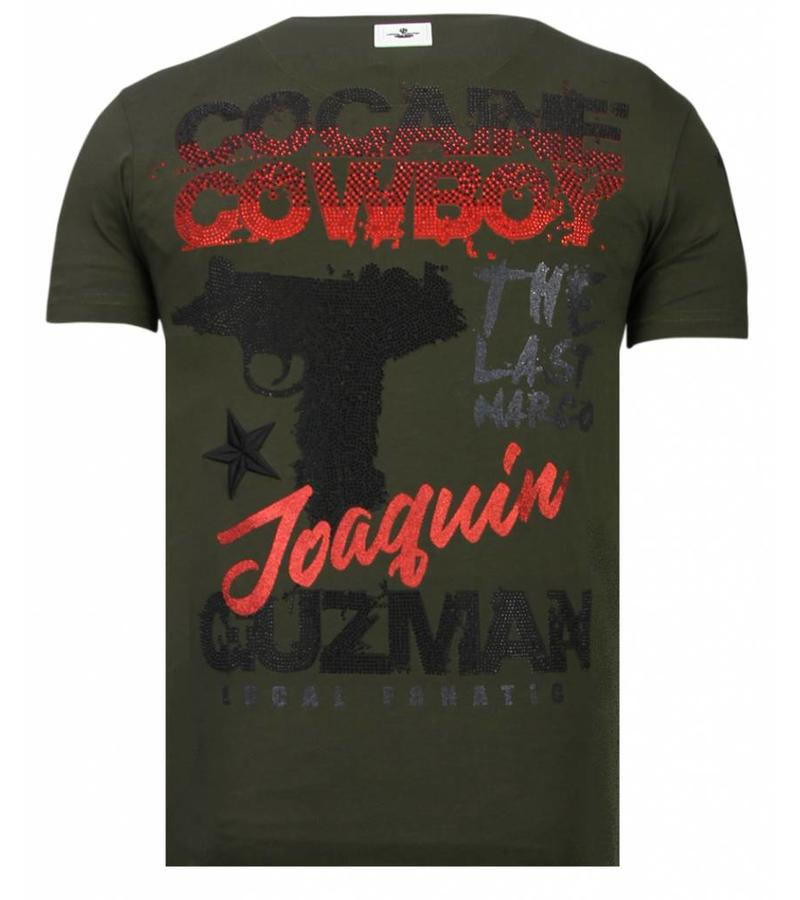 Local Fanatic Cocaine Cowboy - Rhinestone T-shirt - Khaki