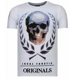 Local Fanatic Skull Originals Rhinestone - Man T Shirt - 13-6224W - Vit