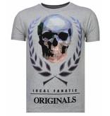 Local Fanatic Skull Originals Rhinestone - T shirt Herr - 13-6224G - Grå