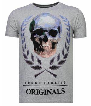 Local Fanatic Skull Originals - Rhinestone T-shirt - Grijs