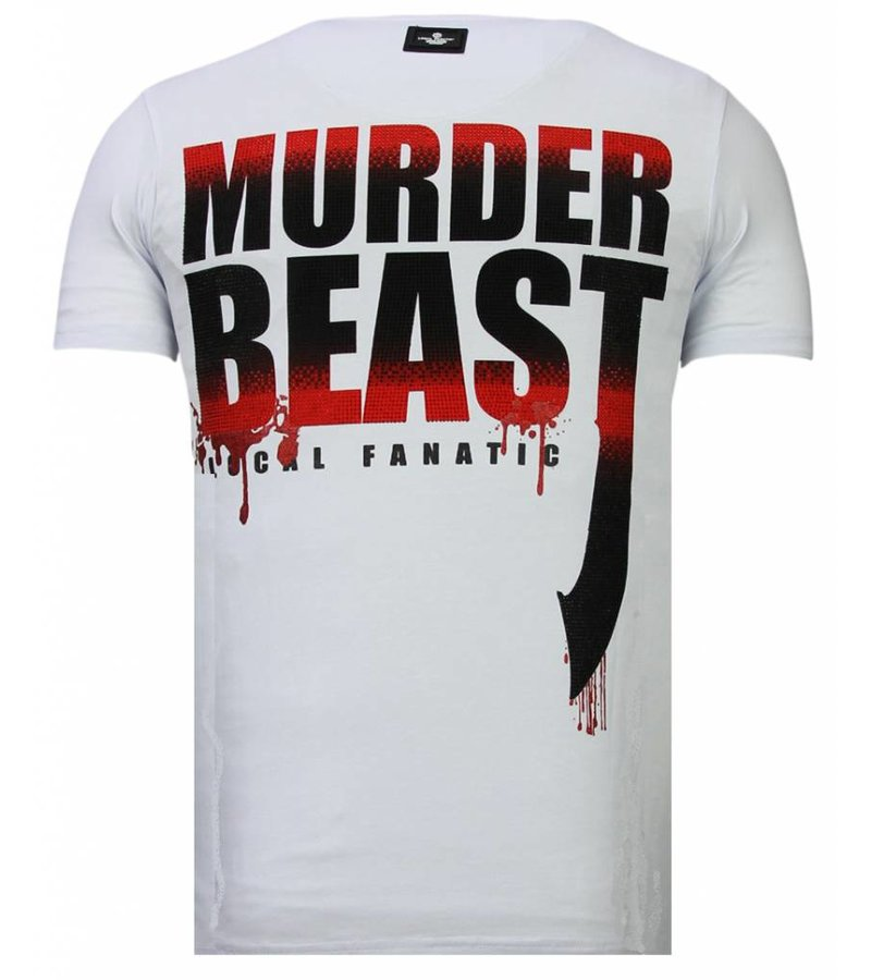Local Fanatic Hunter Duck Rhinestone - Man T shirt - 13-6225W - Vit
