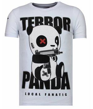 Local Fanatic Terror Panda Rhinestone - Man T Shirt - 13-6227W - Vit