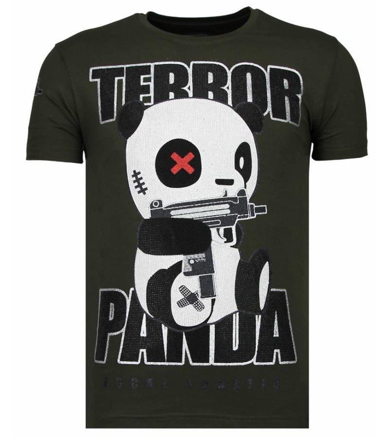 Local Fanatic Terror Panda Rhinestone - T Shirt Herr - 13-6227K - Khaki