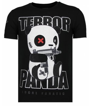 Local Fanatic Terror Panda Rhinestone - Herr T Shirt - 13-6227Z - Svart