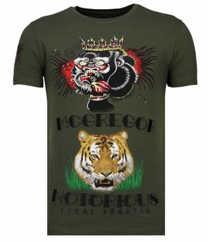 Local Fanatic McGregor Tattoo - Rhinestone T-shirt - Khaki