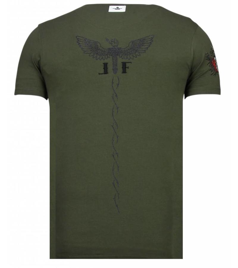 Local Fanatic McGregor Tattoo  Rhinestone - Herr T shirt - 13-6203K - Khaki