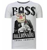 Local Fanatic Billionaire Boss Rhinestone - Man T Shirt - 13-6205W - Vit