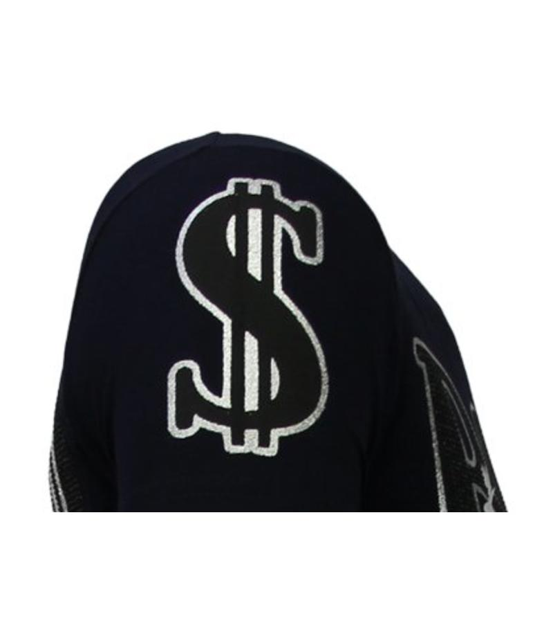 Local Fanatic Billionaire Boss Rhinestone - Herr T Shirt - 13-6205N - Marinblå