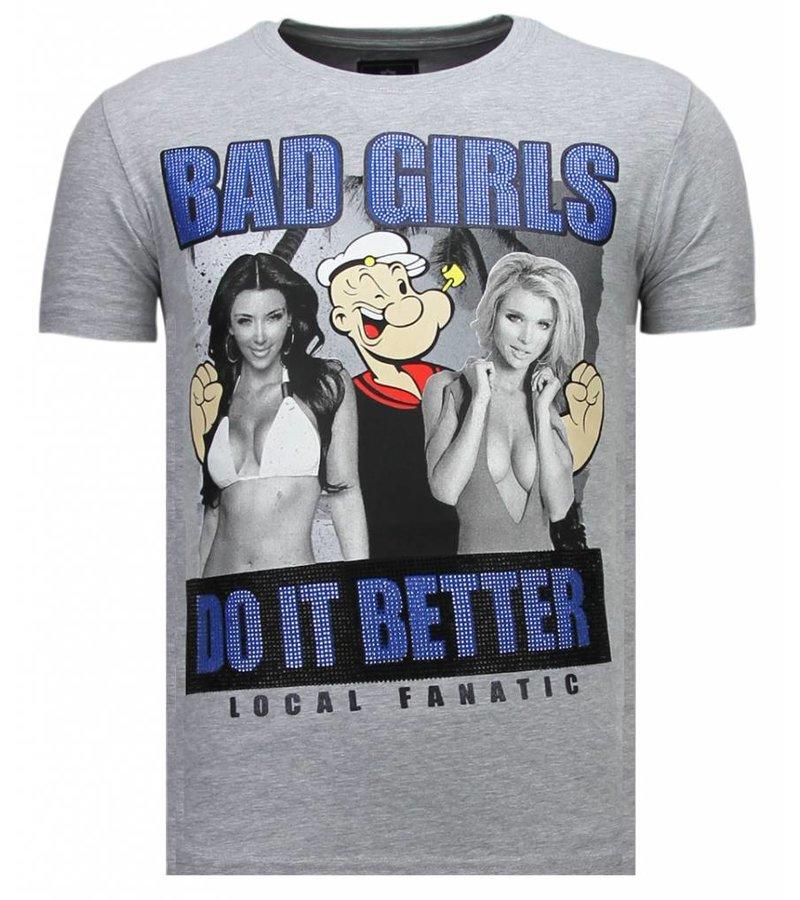 Local Fanatic Bad Girls Popeye Rhinestone - T shirt Herr - 13-6210G - Grå