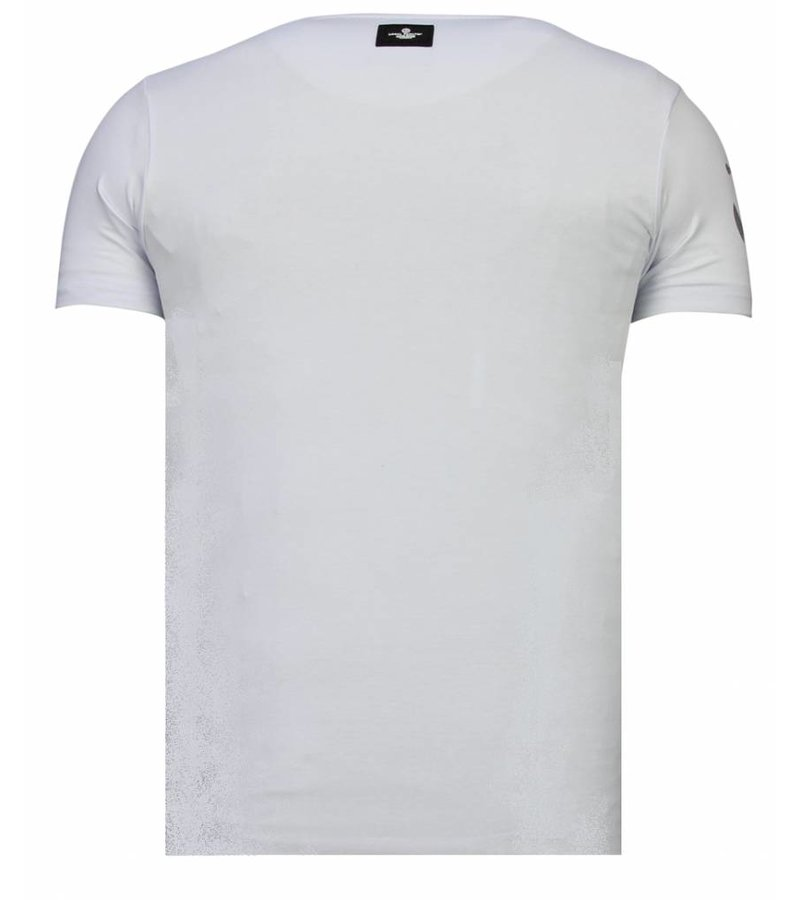 Local Fanatic Iron Man Popeye Rhinestone - Man T shirt  - 13-6214W - Vit