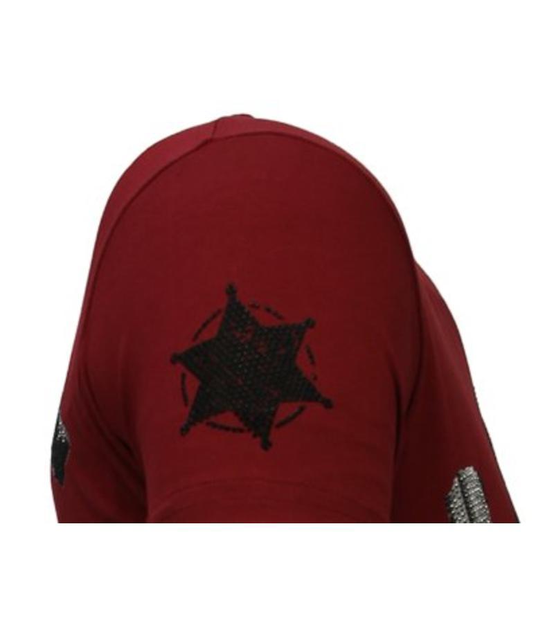 Local Fanatic Bandit Chief - Rhinestone T-shirt - Bordeaux