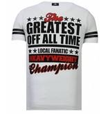 Local Fanatic Greatest Of All Time Ali - Man T shirt  - 13-6215W - Vit