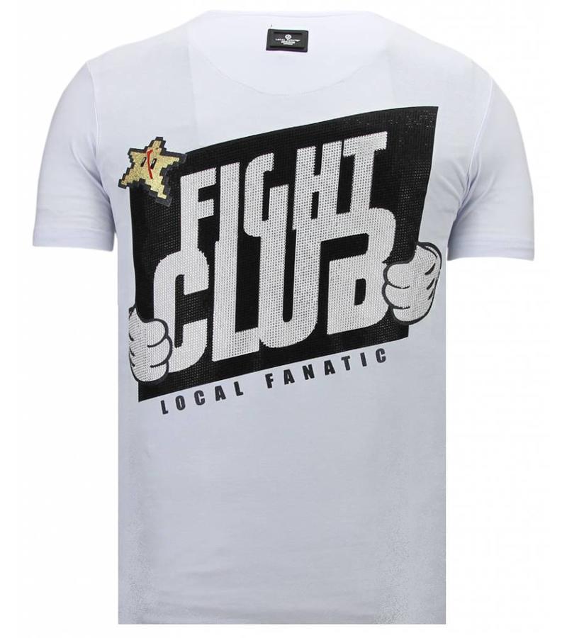 Local Fanatic Fight Club Mario Bros -Man T Shirt - 13-6219W - Vit