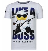 Local Fanatic Like A Boss Duck - Man T shirt - 13-6220W - Vit