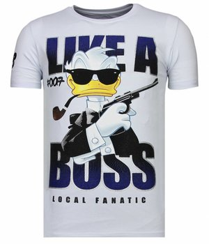 Local Fanatic Like A Boss - Rhinestone T-shirt - Wit