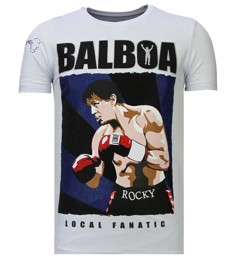 Local Fanatic Balboa Rocky Rhinestone - Man T shirt - 13-6223W - Vit