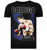 Local Fanatic Balboa - Rhinestone T-shirt - Zwart