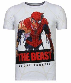 Local Fanatic The Beast Spider - Rhinestone T-shirt - Wit