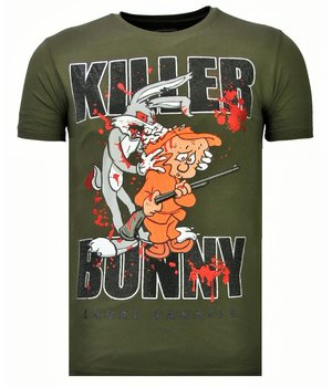 Local Fanatic Killer Bunny - Rhinestone T-shirt - Khaki