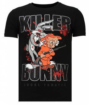 Local Fanatic Killer Bunny - Rhinestone T-shirt - Zwart