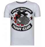 Local Fanatic Fight Club Spike Rhinestone - Man T shirt - 13-6230W - Vit